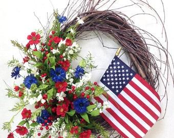 Americana Wreath, Patriotic Wreath, 4th Of July Wreath, Flag Wreath, Red White Blue, Summer Wreath, Birch Wreath, USA