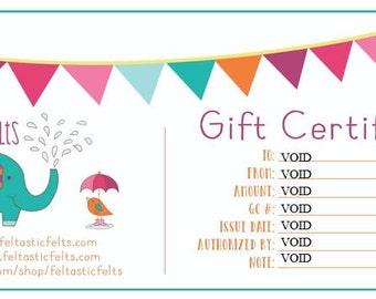 Gift certificate card to Feltastic Felts wholesale felties, felt embellishment, hair bow centers, hair accessories, scrapbook supplies