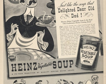 1939 Heinz Vegetable Soup Ad Black & White Illustration Vintage Advertising Old-Fashioned Print Kitchen / Restaurant Wall Art Decor