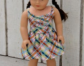 American Girl Doll Dress - Sundress - Summer Plaid