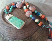 BACK2SCHOOL SALE: Beachy Boho Necklace with polymer clay pendant, pottery beads, gemstones, glass, Sari silk ribbon, and more