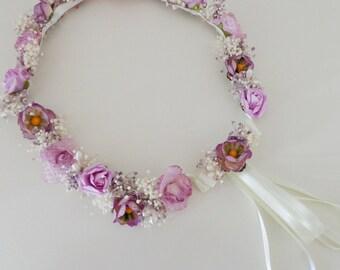 Lilac flower crown, floral crown