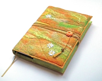 A5 Felt Notebook, Sketchbook, Journal, Diary Cover, Handmade Felt, 'Sunshine', OOAK, UK Seller