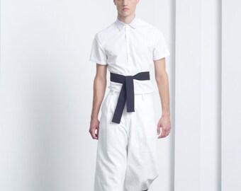 Mens Shirt White Shirt Short Sleeve Button Down Shirt Slim fit