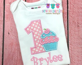 1st Birthday Girl Cupcake Outfit - Girl Cupcake Birthday Outfit - Cupcake Birthday Shirt- 1st Birthday Outfit - first birthday outfit girl