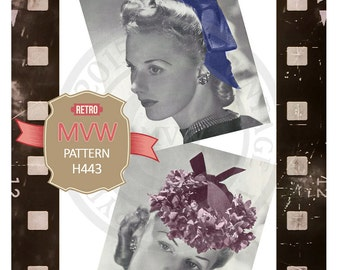 1940's Wartime Hat Sewing Pattern - PDF instant Download