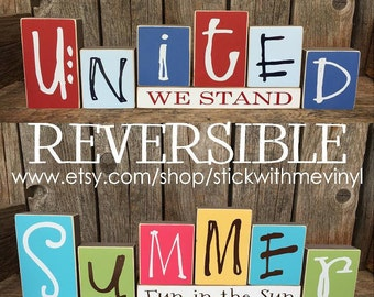 REVERSIBLE blocks, summer/ united we stand, patriotic decor, mantel decor, christmas gift, wooden letters, summer mantle decor, 4th of july
