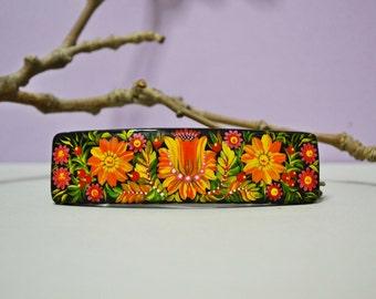 Hand painted Hair Barrette Wooden Hair Clip Handmade  Ukrainian folk art Petrykivka painting.Made to order.