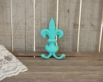Shabby Chic Hook, Fleur de Lis, Cast Iron, Aqua, Turquoise, Hand Painted, Double Hook, Metal, Distressed, French Decor, Coat, Purse, Towel
