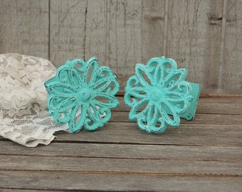 Drapery Tie Backs, Shabby Chic, Aqua, Curtain Tie Backs, Tiebacks, Drapery Holders, Hand Painted, Distressed, Cast Iron, Metal