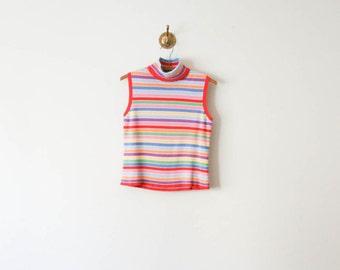 vintage 70s rainbow brite knit top