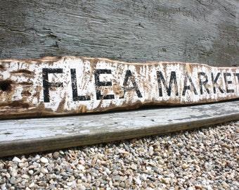 Flea Market Rustic Distressed Large Wood Sign