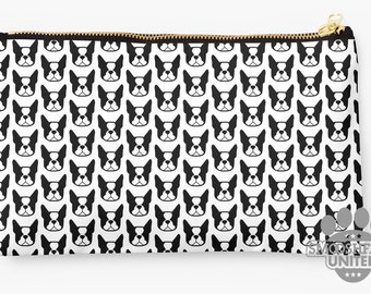 Boston Terrier zipper pouch, sleeve, pocket, clutch, bag, organizer - Black & White Boston Terrier fabric print - perfect for gifting!