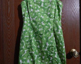 Jones New York Womens 6P/Petite Green Flower (Stretch) Short Sun Dress