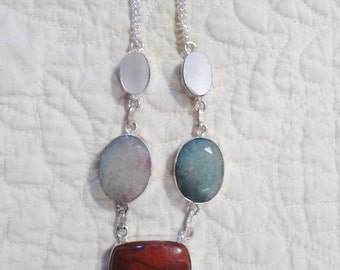 Bohemian Necklace Gemstone Boho Red Jasper Pendant Chain Hippie Jewelry Southwest Rustic SALE