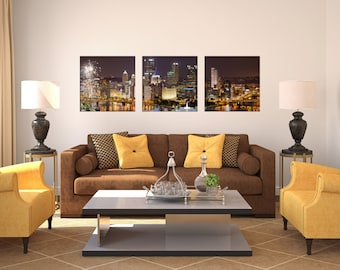 Yinzers Love Fireworks Float Mount Photo Metal Print Triptych - Pittsburgh West End Night Photograph Picture