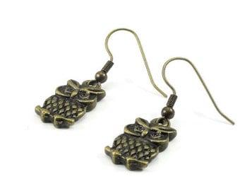 Owl Earrings Bronze Brass