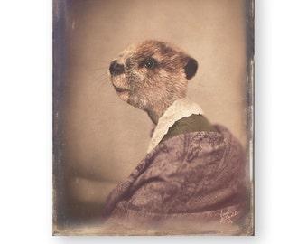 "Beaver Art Print Animal Art Anthropomorphic Animals In Clothes Victorian Decor Surreal Woodland Nursery Art Decor (3 Sizes) ""Emma"""