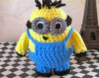 Crochet Minion Jerry Stuffed Two-Eyes with Spiky Hair