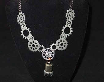 Dark Silver Steampunk Necklace with Lightbulb