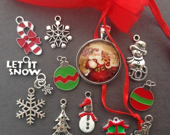 11 Christmas charms antique silver +1 glass pendant  #ENS A187
