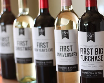 6 Custom Wine Labels for First Married Moments - Customizable - Wedding Gift or Bridal Shower Gift - Printable