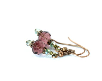 Rose Pink and Mint Green Crystal Earrings, Pink Crystal Earrings, Mint Green, Crystal Dangle Earrings, Purple Earrings, Crystal Earrings