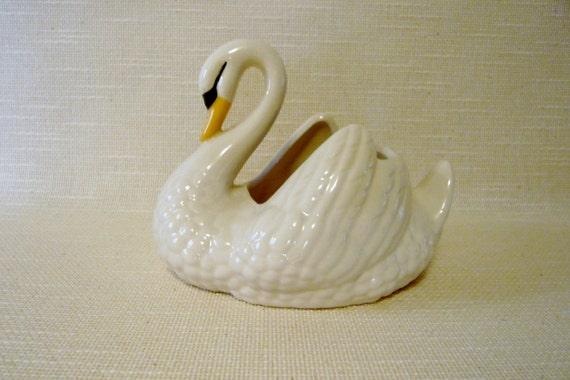 Vintage White Ceramic Planter Swan With Yellow Beak