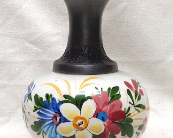 "Decorative Hand Painted Vase w/ Engraved Metal Top 7"" Tall GEMALT VINTAGE"