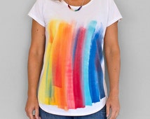 RAINBOW on WHITE . Rainbow T-shirt. Women's t shirt. Hand painted tees. Unique t shirts. Rainbow top.