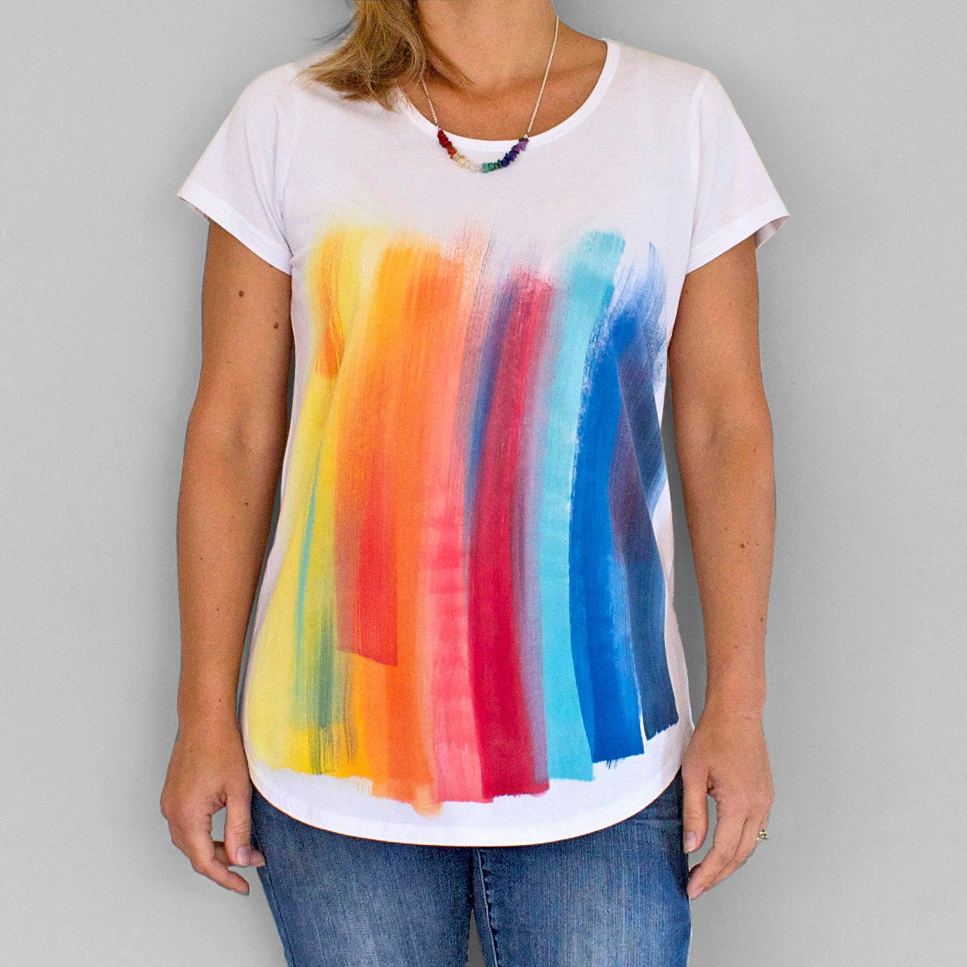 RAINBOW on WHITE Rainbow T shirt Women s t shirt Hand painted
