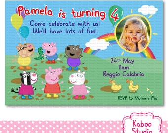 Printable Muddy Peppa Pig and Friends Invitation