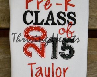 Personalized 2016 Pre-K graduation shirt.