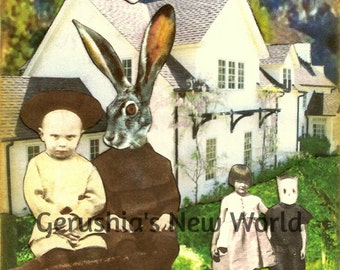 Guardians of the Questionable Motive - Collage, Mixed Media, Anthropomorphic, Print, rabbit