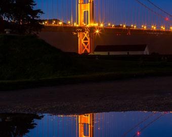 San Francisco Golden Gate Bridge Art Print Photograph - Great for Home Decor Large Wall Art - San Francisco Photo of the Bridge at Night