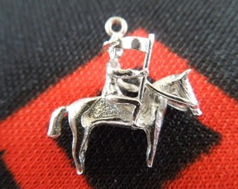 Sterling Horse Charm Vintage Horse And Rider Sterling Silver Charm for Bracelet from Charmhuntress 01870