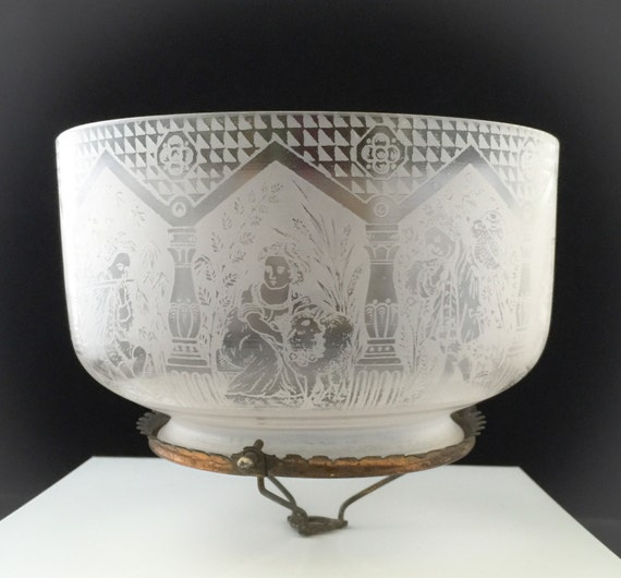 Etched Metal Lamp Shade: RARE 1880's Glass Lamp Shade W/Brass Etched With By