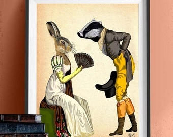 Look of Love Art Print Illustration Poster Acrylic Painting Giclee Wall Decor Wall hanging Wall Art Badger and Rabbit Regency Dress