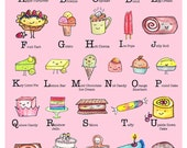 ABC Wall Art Printable Kids Room or Nursery Decor PDF - 8.5 x 11 - Alphabet Art Print - Cupcakes, Ice Cream and Cute, Kawaii Desserts