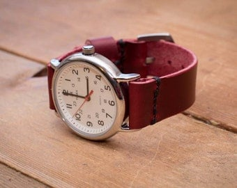Mens watch strap leather 22mm 20mm 18mm 24mm watch band Cherry - 01CWS