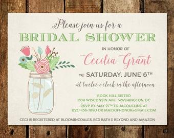 Mason Jar Bridal Shower Invitations - Rustic, Pink Floral Spring or Summer Themed Design  - Bridal Shower Printable Invitations