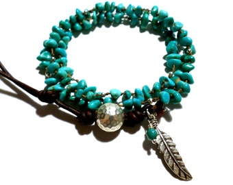 15% OFF CODE: ONEWEEKONLY, Turquoise Bracelet and Sterling Silver, Silver Feather Charm, December Birthstone, Triple Strand, Artisan Style