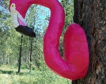 Faux Taxidermy Flamingo//Paper Mache Animal Head// Nursery Decor // Paper Mache Sculpture//Flamingo Sculpture//Faux Taxidermy Animal Head