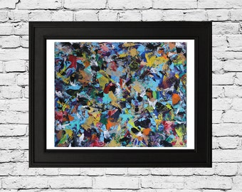 Fine Art Print From Original Abstract Painting on Canvas, High Resolution, Action Painting, Expressionism, Purple, Gold, Turqouise,