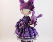 Doll Frusya purple rag doll violet with rabbit cloth doll handmade