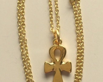 Silver and Gold Ankh Egyptian Cross Pendant Necklaces