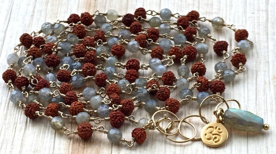 108 Mala Beads - Rudraksha Mala - Labradorite Necklace - Rosary Necklace - Wire Wrapped Jewelry - Yoga Gift - Gold Om Necklace