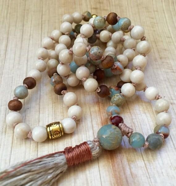 Mala for Positive Change & Peace - African Opal, Sandalwood and Riverstone Mala Beads - Boho Mala Beads - Chakra Healing - Pantone Fashion
