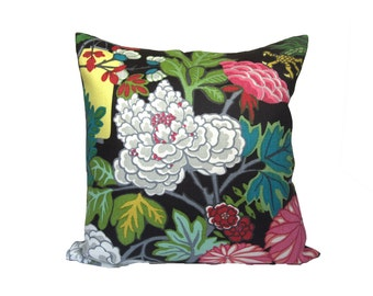 FLORAL PATTERN - Chiang Mai Dragon Ebony (1 side) - Designer Pillow Cover - Choose Your Size