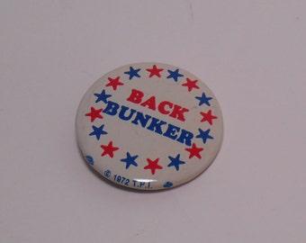 Back Bunker Archie Bunker for President Pin Back Button 1972, All in the Family, 1970s Memorabilia